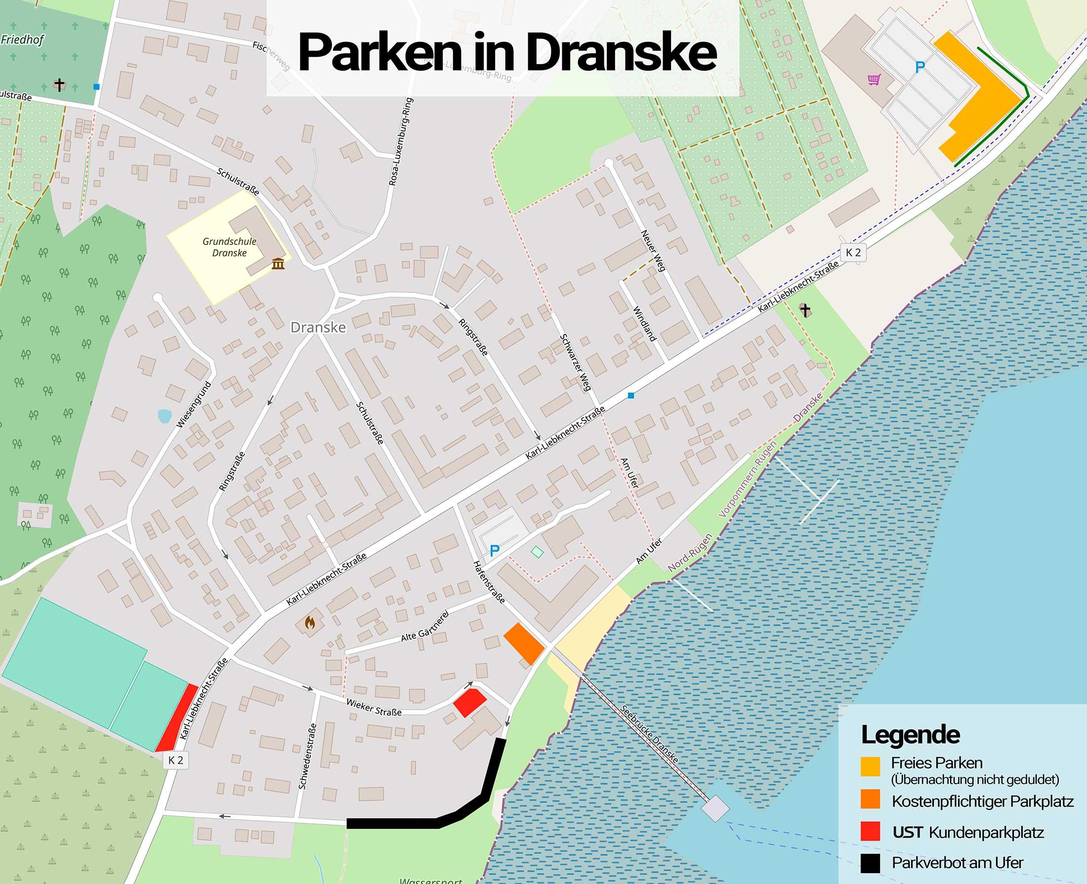 Parkmöglichkeiten in Dranske